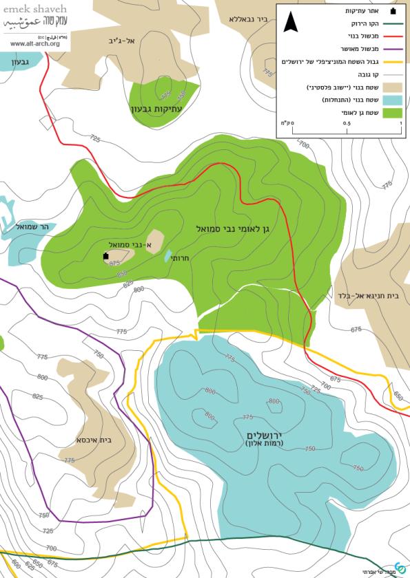 מפה טופוגרפית נבי סמואל